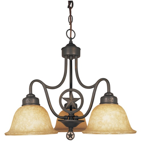 3 Country Style Pendant Vanity Light Fixture: Zoomed: Portfolio 3-Light Texas Star Bronze Chandelier At