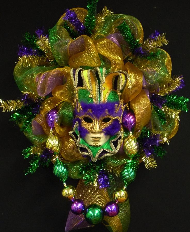 Mardi Gras Mask Wreath