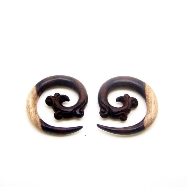 2g 0g 00g 000g 0000g Tribal Spiral Wood Gauges, Organic Ear Taper, Stretcher  #AyuTribal #ebay #piercing #gaugedears #stretchedears
