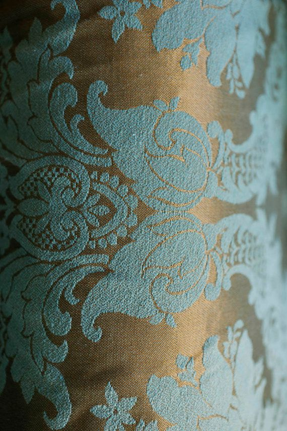 Teal & Gold midcentury upholstery fabric 60's by JubileeStreet
