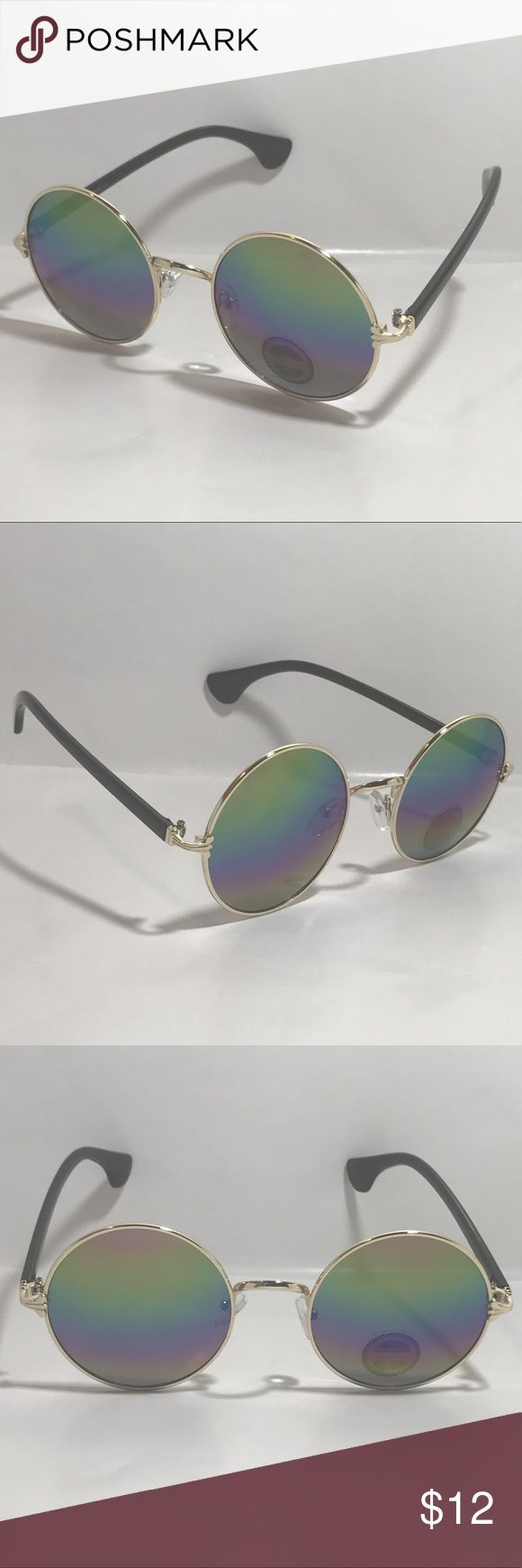 Circle Rainbow Mirrored Lens Sunglasses 1 Pair of Circle Sunglasses  Black/Gold Frame Rainbow Mirror Lenses Nose Pieces Slightly Oversize Lenses High Quality 100% UV Protection Men   Women   Unisex  1 Free Black Microfiber Pouch  Shipping: All orders ship within 24 hours of purchase Monday - Friday :-)  9051 Accessories Sunglasses