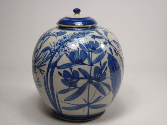 Carl-Harry Stålhane for Designhuset. Lidded urn with hand painted Scandinavian flowers, such as lady´s slipper, honeysuckle, cowslip etc.