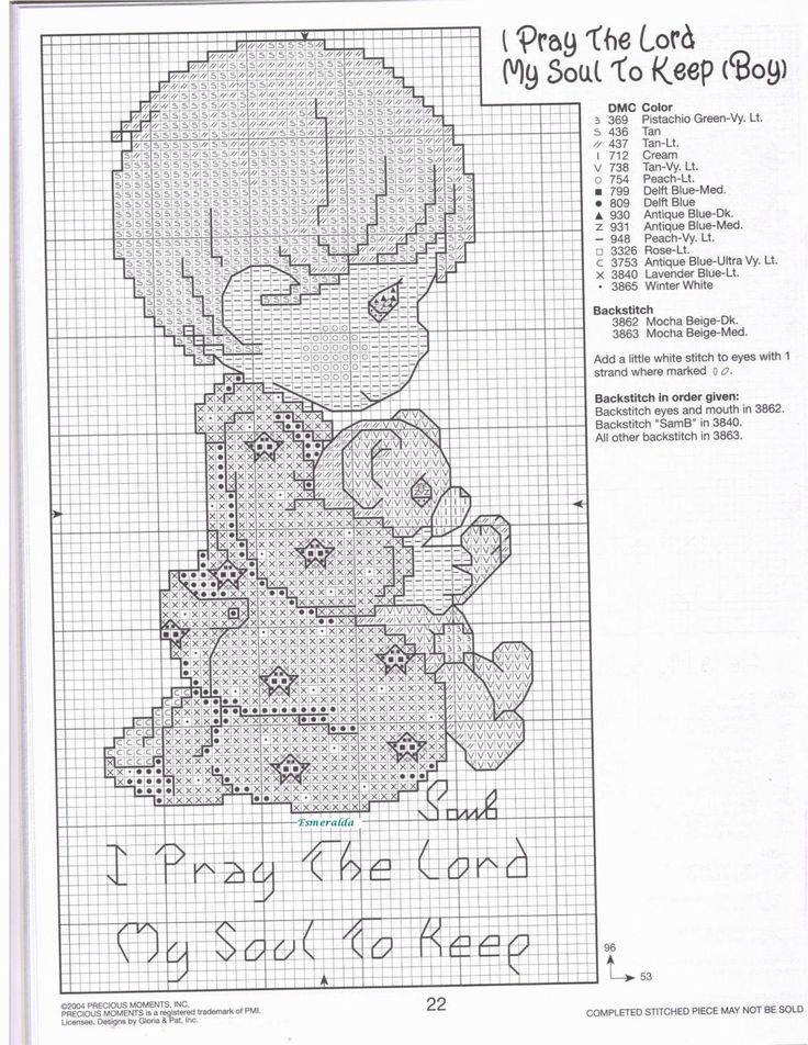 Cross-stitch Precious Moments I Pray the Lord my Soul to Keep, part 2... bimbo…