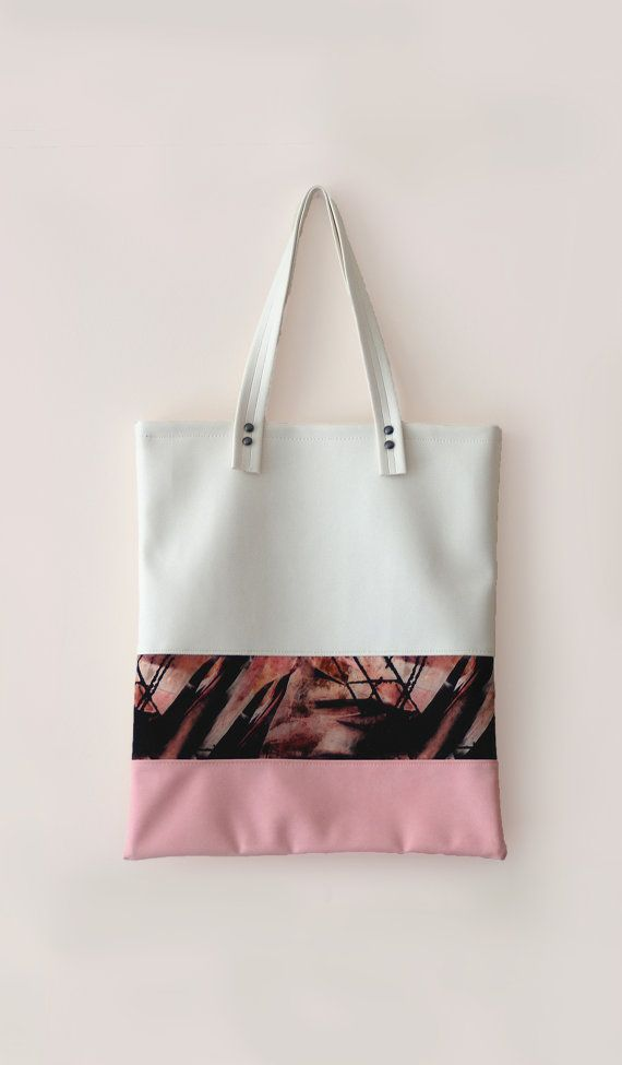Leather Tote / Leather Shopper Bag white / pink / black