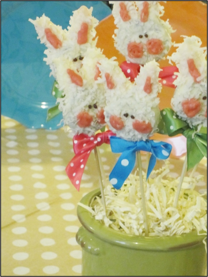 """Bunny Cookies On A Stick"".  These bunny cookies are easy and fun to make! Use them to decorate your table for Easter. Dress up your Baby Shower. They are great to make for your kids or take to a friend."