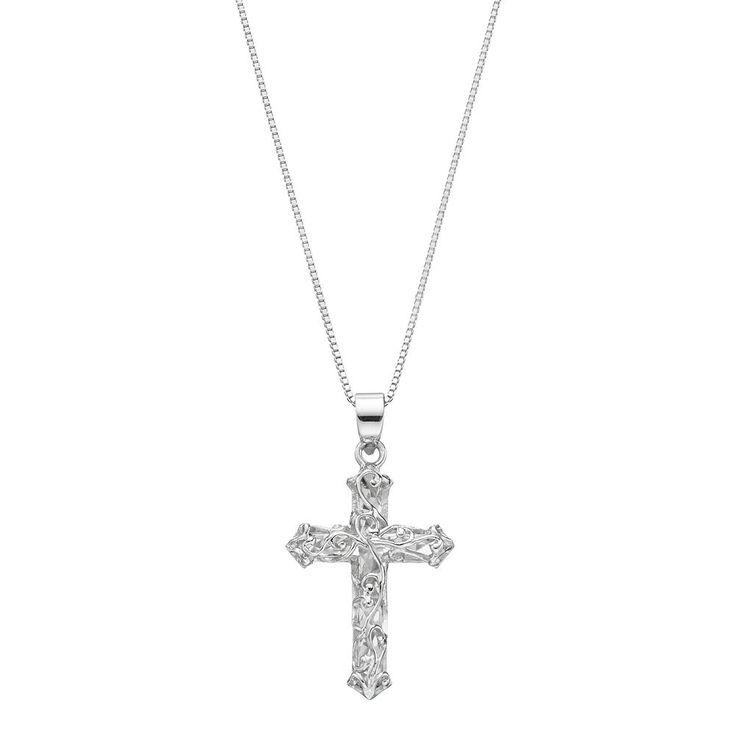 Timeless Sterling Silver Cross Pendant Necklace, Women's