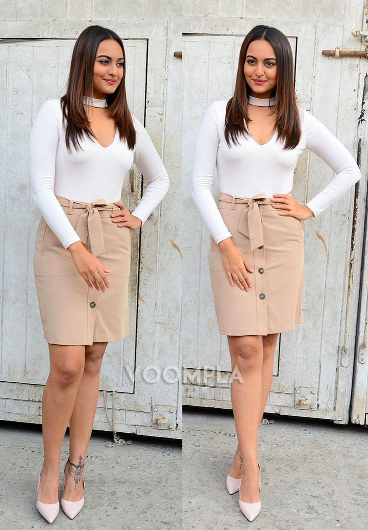 Sonakshi Sinha looking hot in a skirt and heels... what a style statement!! via Voompla.com
