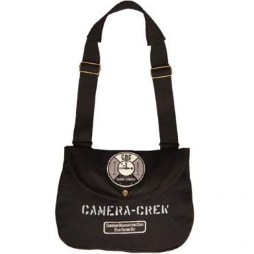 Inspired by the early days of black and white television in the 1950s and 1960s, when camera men needed a place to carry their film accessories (gear), this bag features the CBC test pattern image which was shown on air at times of no broadcast. The graphic patterns on the test pattern served specific purposes and were used to help adjust cameras, home and studio monitors for best perspective.