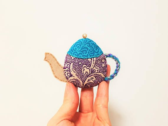 Teapot Brooch. Floral Morning Tea. Teal Purple Teapot Pin. Cafe Style. Felt Fabric Jewellery. Teatime Jewelry. Turquoise Magenta Tea Pot.