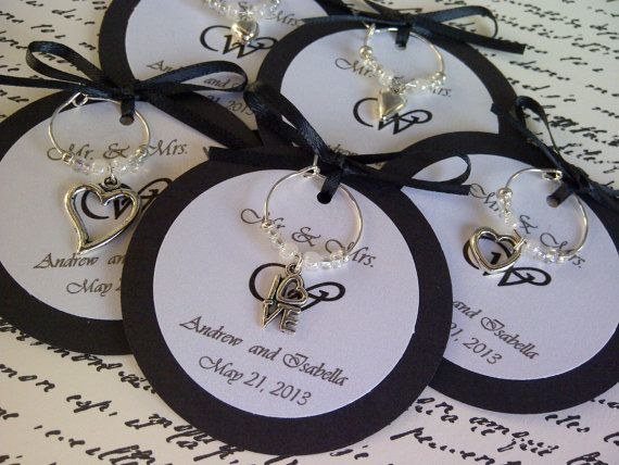 Custom Hearts And Love Wine Charm Favors Weddings Bridal Shower Rehearsal Dinner Anniversary Birthday Party Or Special Event