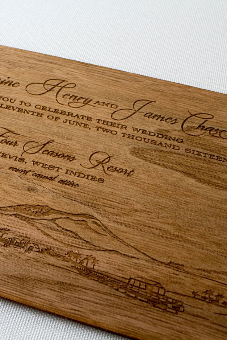 wedding invitations printed on wood%0A Engraved Wood Wedding Invitations