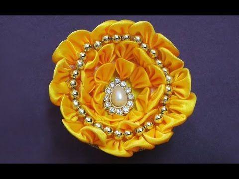 Very Cute DIY Kanzashi Satin Ribbon Flower Making | Satin Ribbon Crafts ...