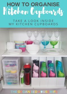 Keeping the kitchen cabinets tidy can be an endless battle especially if the kids are helping to put away the clean dishes. However, if you make defined spaces for crockery, plastics, cutlery etc this will help the family place everything back into the ri