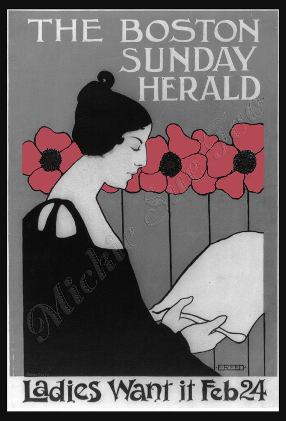 """11 X 17 Inch Art Print - 1890 Boston Sunday Herald, Pink Poppies, """"For The Ladies"""""""
