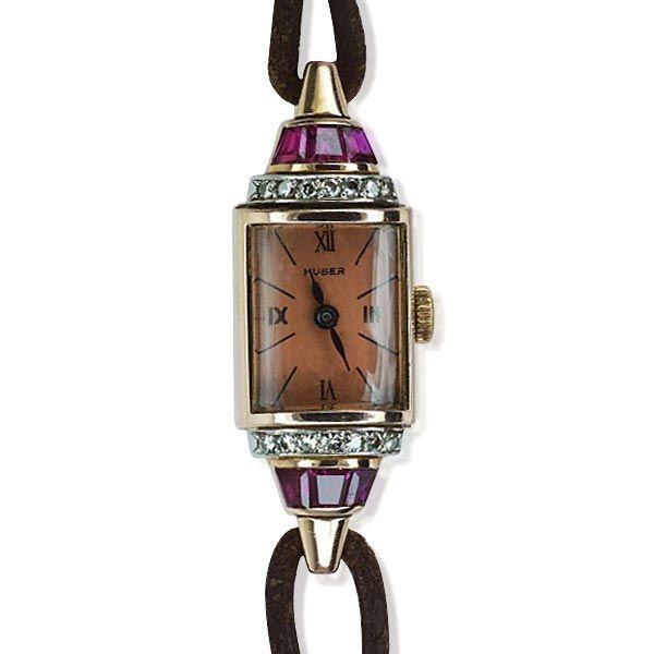 Damen-Armband-Uhr 50er Jahre mit Rubinen und Diamanten in Rotgold   Luxusuhr