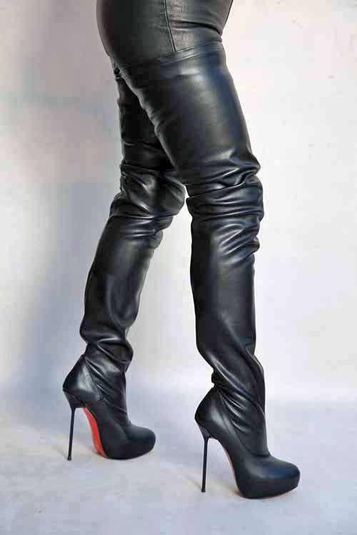 8f9c321d7d4e77 Italienischer High Heel Overknee Stiefel mit Plateau von Miceli - Made in  Italy