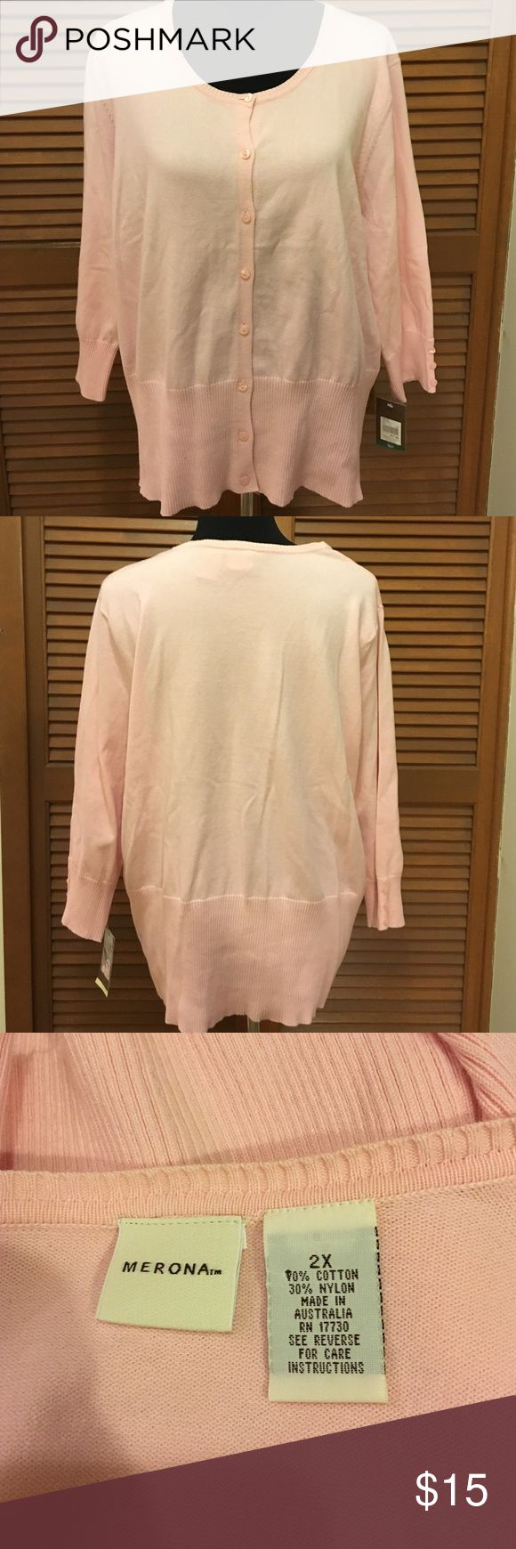 NWT Merona plus size pink cardigan sweater 2x Brand-new with tags! Has three-quarter length sleeve's. 70% cotton 30% nylon. Merona Sweaters Cardigans