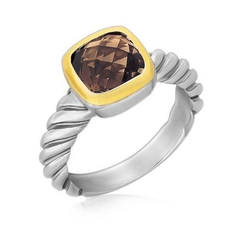 18K Yellow Gold and Sterling Silver Cable Style Cushion Smokey Topaz Ring P150-94338-7