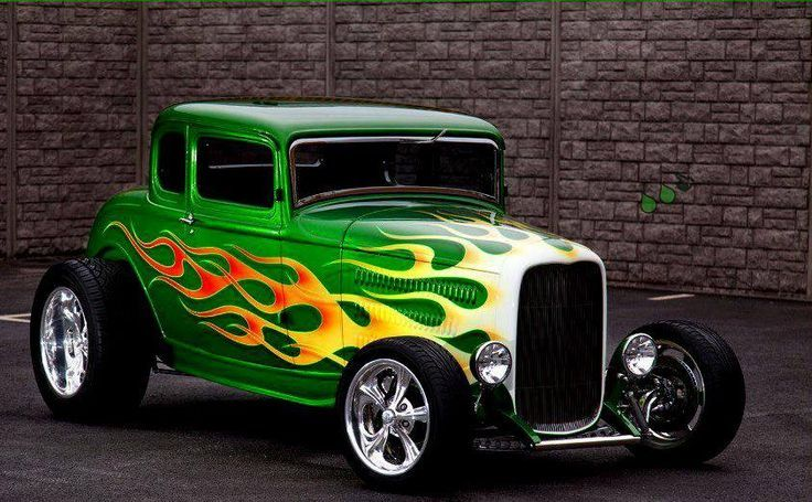 Green hot rod with flames | Street Rods | Pinterest
