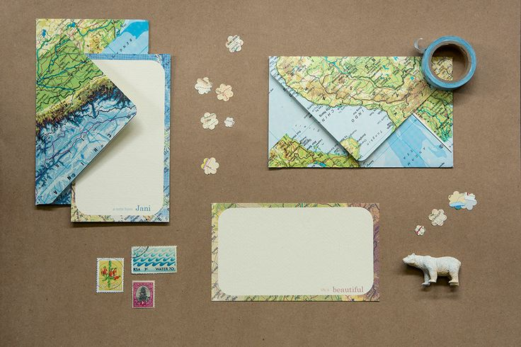 LimiNoted range with travel theme. We use all sorts of maps from atlases to street-maps. Great for an avid traveler! Personalised or plain note-cards with upcycled envelopes. www.poppyseedcollective.com