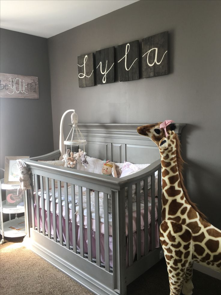 Baby nursery DIY gray furniture once upon a time bedding lily the giraffe