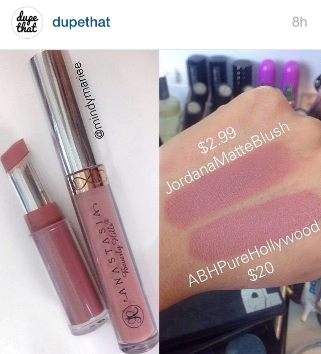 Jordana Matte Blush dupe for Anastasia Pure Hollywood lipstick-might have to try this. Jordana lip liner in pink love is my favorite lippy right now.