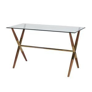 Worlds Away Graham Desk Wood Brass Glass Top Side View Wooden Desk Wooden Writing Desk Table