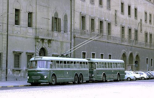 double deck bus italy | ATAF, Florence, Italy: 1012 3-axle FIAT 410 Cansa trolleybus in city ...
