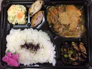 平成27年2月13日(金)ランチメニュー:カレイのから揚げ野菜あん/しいたけ肉詰め/ひじき煮/ポテトサラダ