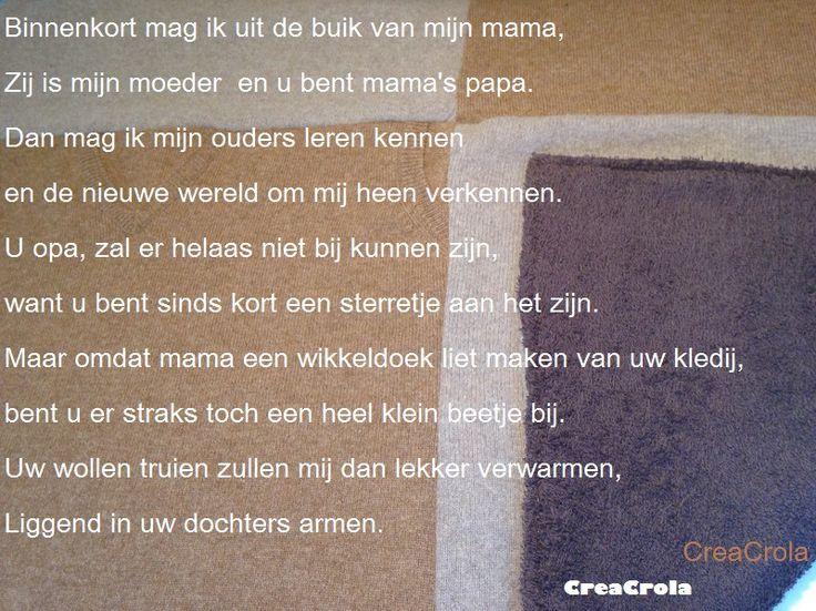 Herinneringswikkeldeken voor nog ongeboren kleindochter, gemaakt van opa's wollen truien/badstof, CreaCrola.nl