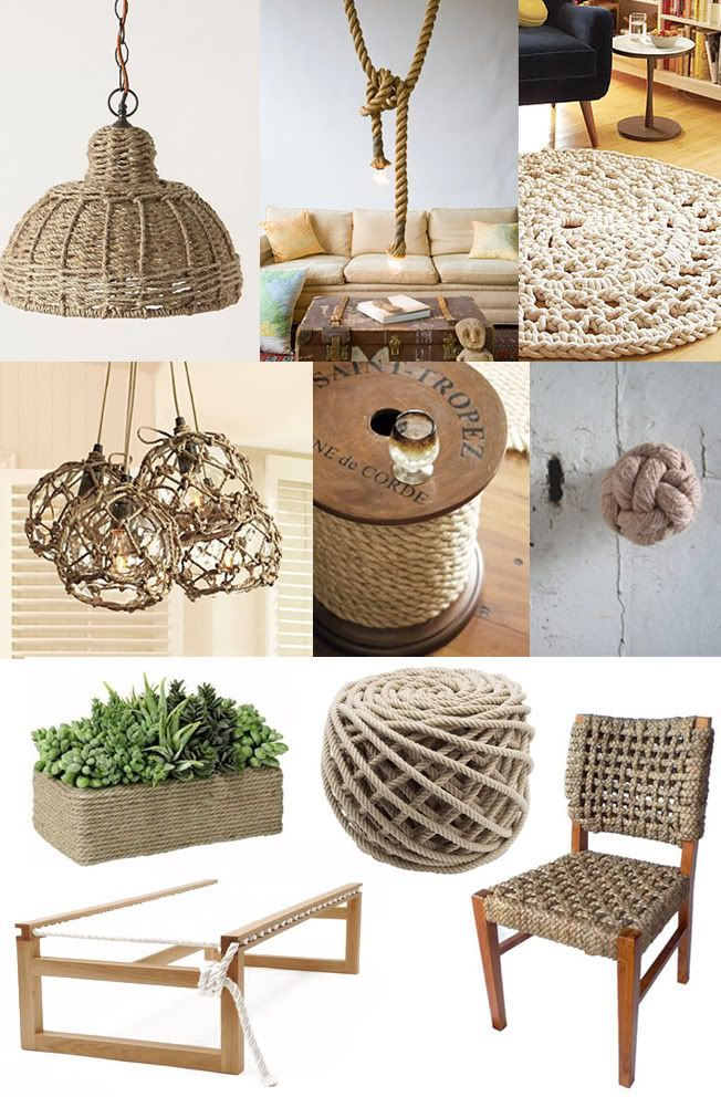 The versatility of rope especially in interiors.Used for a nautical vibe, french country setting, industrial look and even in the children's room!