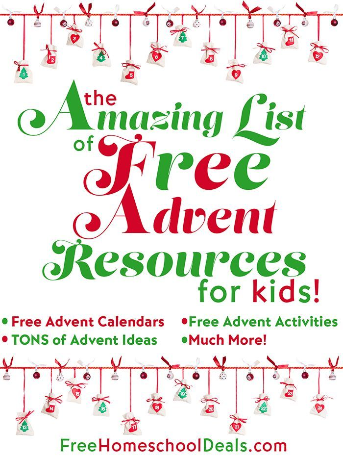 In The AMAZING LIST of FREE ADVENT RESOURCES for KIDS you'll find Free Advent Calendars, Free Advent Activities, plus TONS of Advent Ideas and much more!