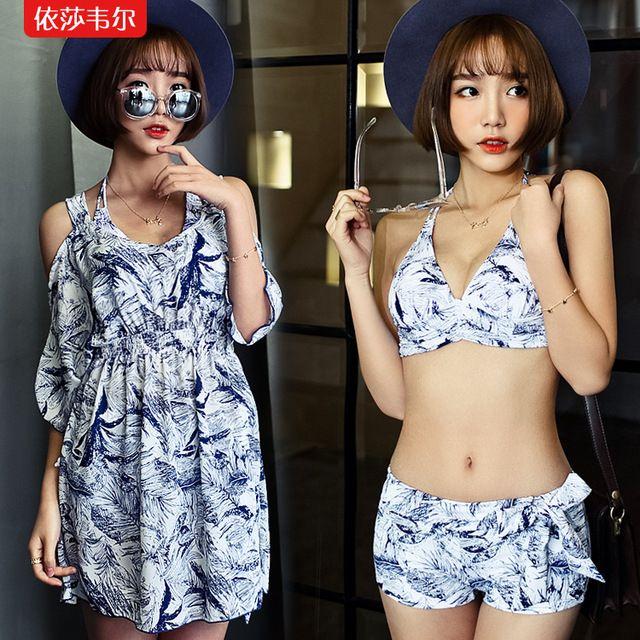 Bikini Bikini spa three piece swimsuit female boxer loose dress lace blouse gather steel support US $61.49 Specifics MaterialPolyester Pattern TypeSolid WaistLow Waist Support TypeUnderwire With PadNo GenderWomen Item TypeBikinis Set Color classificationOrange, white The article numberY529 StyleSkirt bikini Whether to strip girdle paddingStrip girdle padding SizeM, L, XL  Click to Buy :http://goo.gl/t9O329