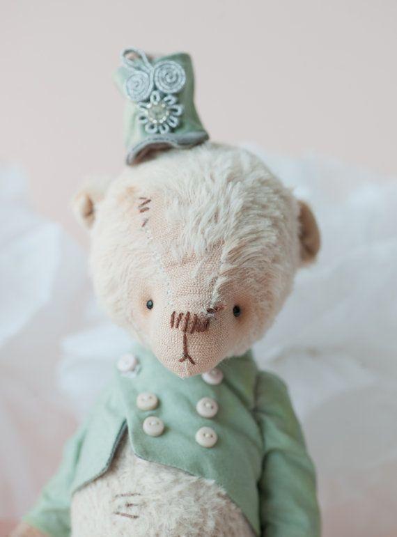 Christmas - Teddy Bear Nikita - Cream Mohair Toy Teddy - Artist Teddy Bear - Plush Stuffed Animal - Soft Toy