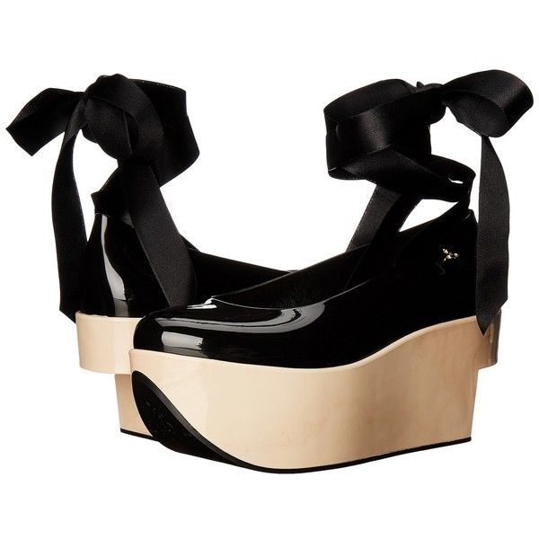Vivienne Westwood Anglomania + Melissa Rocking Horse (Black) Women's... ($230) ❤ liked on Polyvore featuring shoes, platform wedge shoes, ankle strap shoes, rocking horse shoes, black ankle strap shoes and high heel shoes