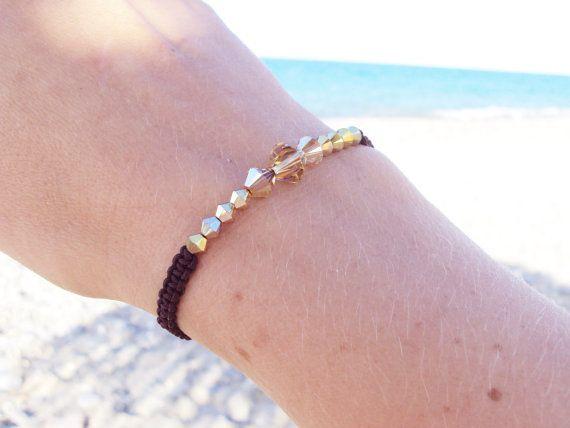 Golden Swarovski crystal macramé bracelet in dark chocolate brown