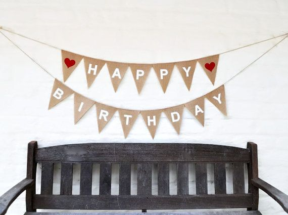 HAPPY BIRTHDAY Hessian Banner Burlap Celebration Party Banner Bunting Decoration photo prop