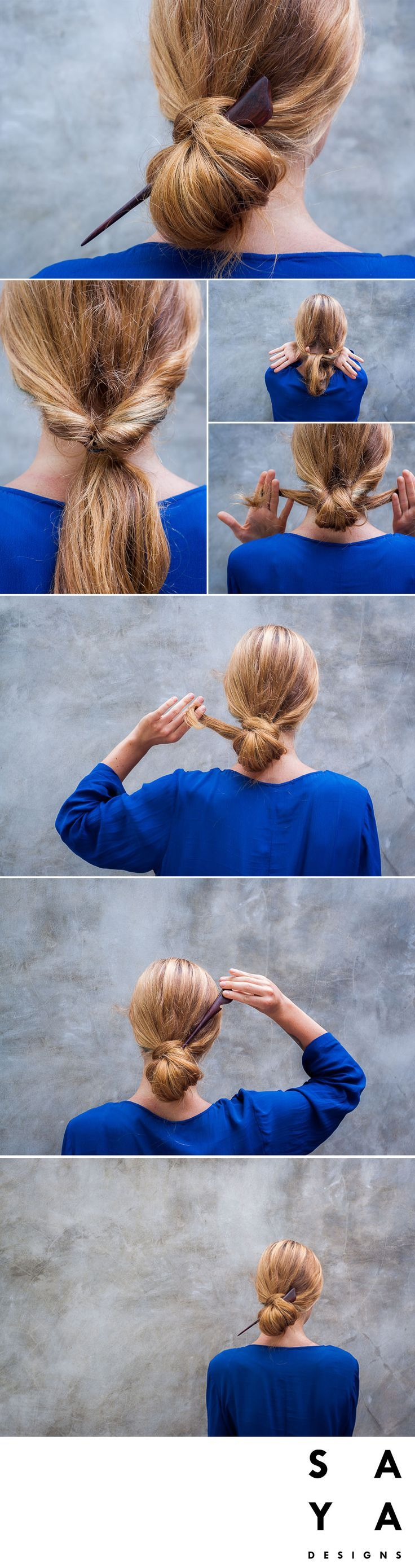 """How to do a """"Wrapped Bun"""".  Put your hair into a low pony tail from behind and loop it into iteself. Depending on the length of your hair, do this a few times until you are left with two small ends on either side. Plait your hair centred from behind and fold it into itself into a low bun. Take the hairpin and place it through the bun. You want to make sure it feels secure.   The hairpin used in this tutorial is the """"Tapioca"""" from our new collection now LIVE on Kickstarter."""