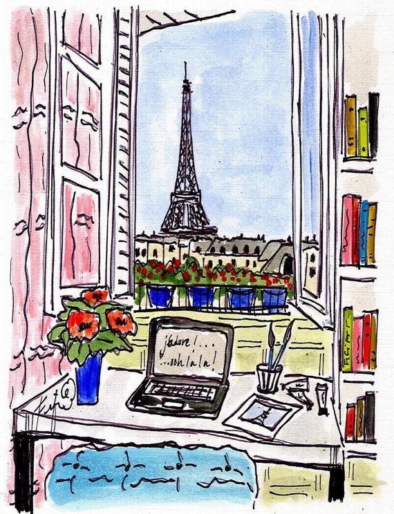 Paris Studio by Fifi Flowers... This was almost the view from my window. Ah, Paris, la ville lumière!