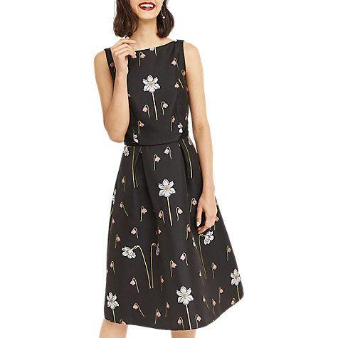 Buy Oasis Snowdrop Print Jacquard Midi Dress, Black/Multi Online at johnlewis.com