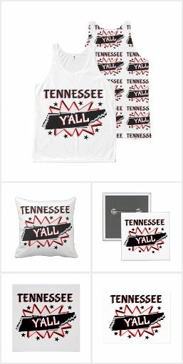 Tennessee Y'all A comic book style starburst with an outline of Tennessee on it. A fun way to show your Southern, and State pride y'all.