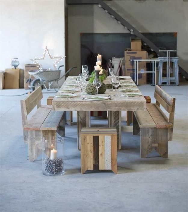 Wood Pallet | Discount Dining Room Sets: Make Your Own With These DIY Projects  Read the rest here: Read the rest here: http://livingroomideas.com/diy-discount-dining-room-sets/