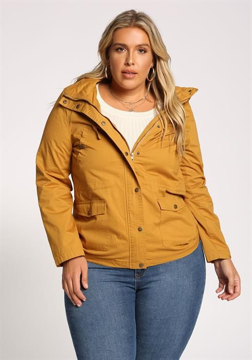 2a94182141 Plus Size Plaid Hooded Utility Jacket