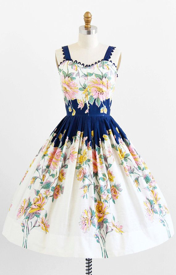 vintage 1950s blue + pink floral cotton party dress by Vicky Vaughn | rockabilly dresses | http://www.rococovintage.com