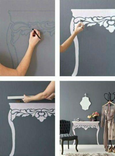 "DIY painted ""table"" shelf - cute!"