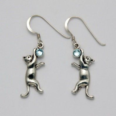Amazon.com: Dangling Cat with Blue Topaz Earrings