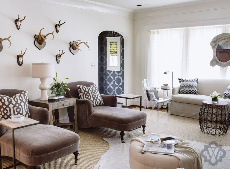 Dana Wolter Interiors Graham Yelton Photography BMetro Magazine Family Room W Antlers