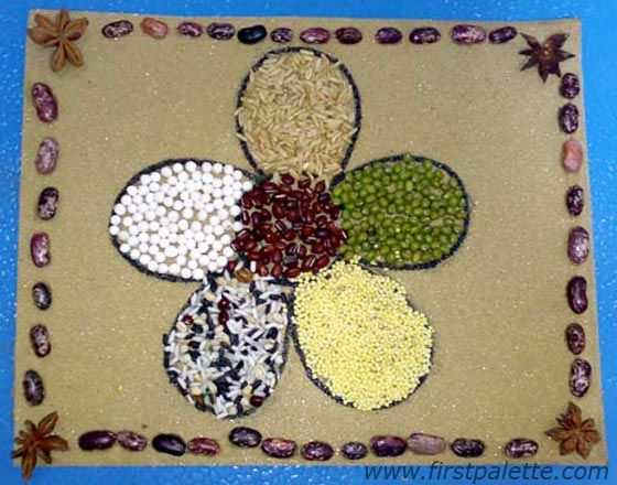seed craft | Line the edges of your mosaic with seeds to create a framed ...