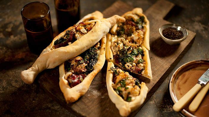 Shane Delia's prawn and feta pide. Watch the video recipe.