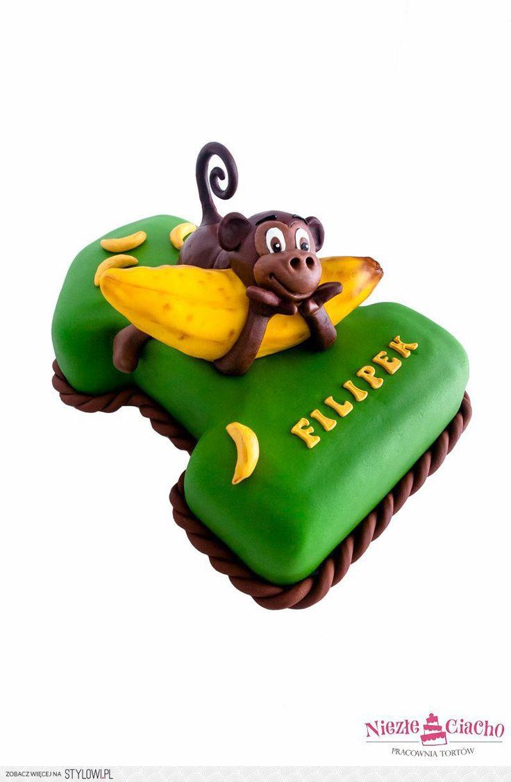 Małpka, banan, małpka z bananem, torty dla dzieci, tort… na Stylowi.pl